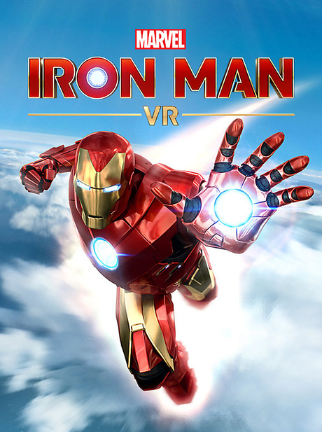 The Iron Man VR Logo with Iron Man flying toward the viewer